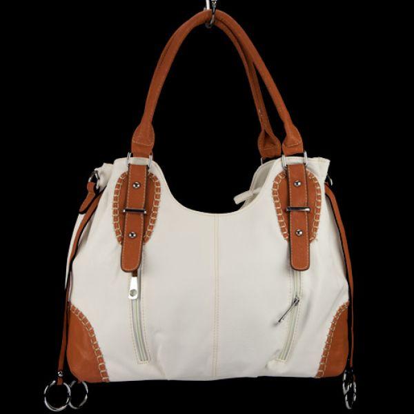 Fashionable<br> handbag Silke,<br>White / Brown