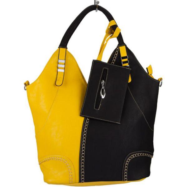 Extravagante<br> Handtasche Sandra<br>mit Etui, Gelb/Schw