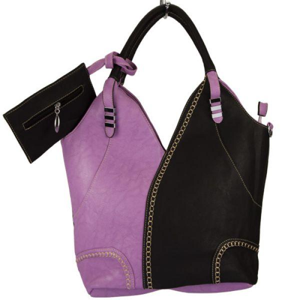 Extravagante<br> Handtasche Sandra<br>mit Etui, Lila/Schw