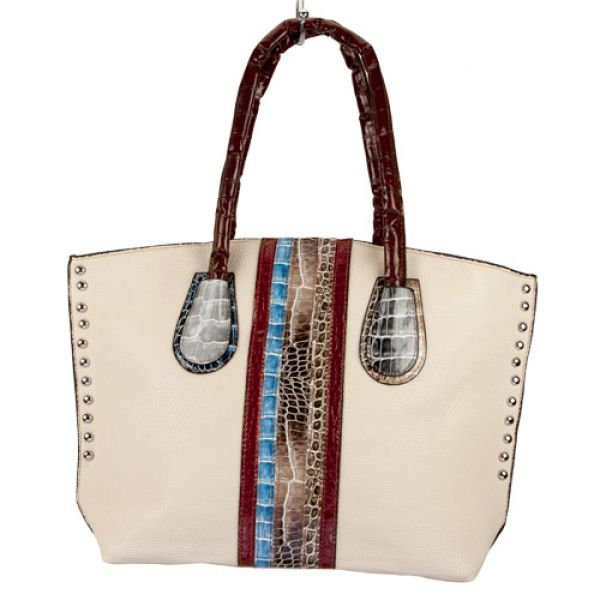 Fashionable<br> handbag Eva, Cream<br>/ Colorful