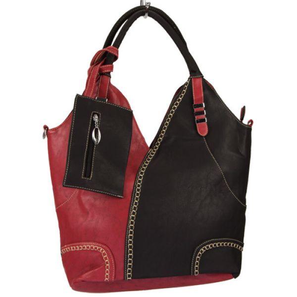Extravagante<br> Handtasche Sandra<br>mit Etui, Rot/Schwa