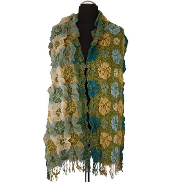 Stylish ladies<br> scarf, 200x40cm,<br>Green
