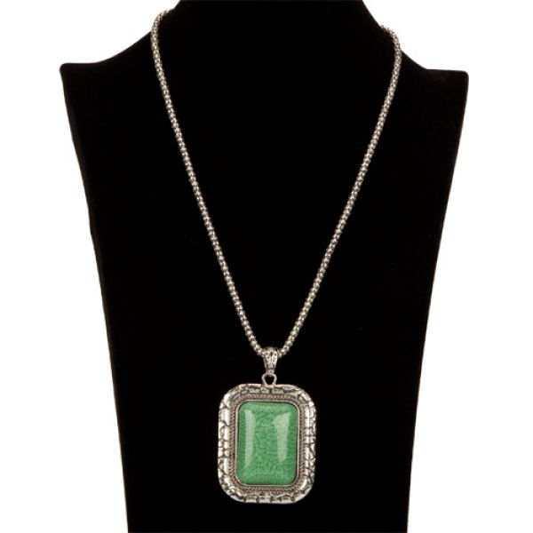 Necklace with<br> Pendant,<br>Rectangle, Green