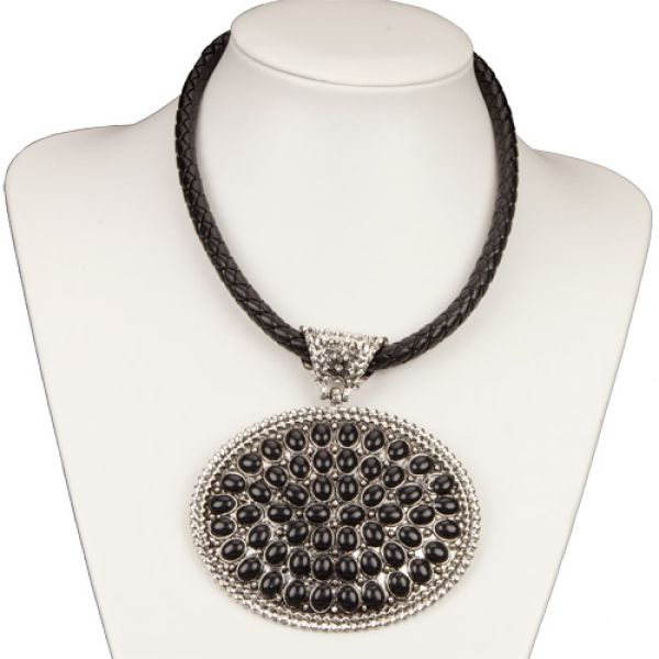 Necklace with a<br> large pendant,<br>Silver / Black