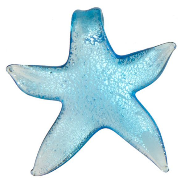 Glass Pendant,<br> 55x56mm blue<br>starfish
