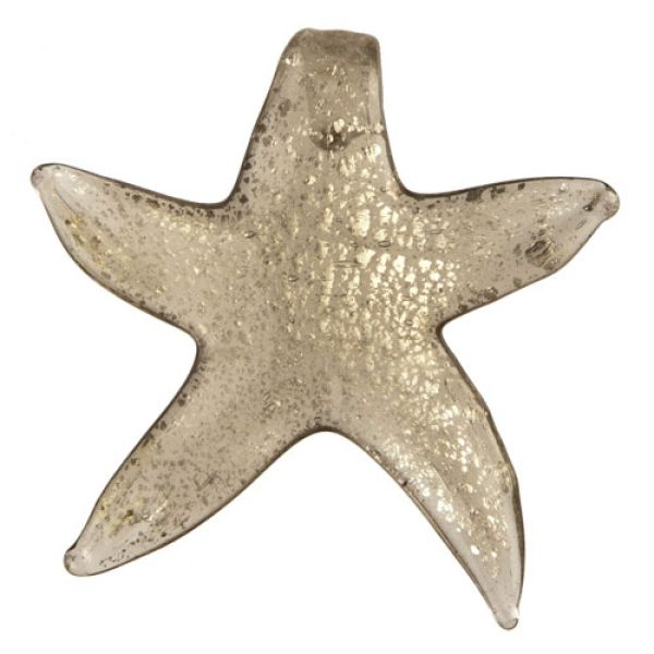 Glass Pendant,<br> starfish silver<br>gray 55x56mm
