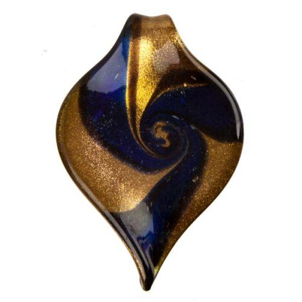 gr. Glasanhänger<br>blau/gold 65x43mm