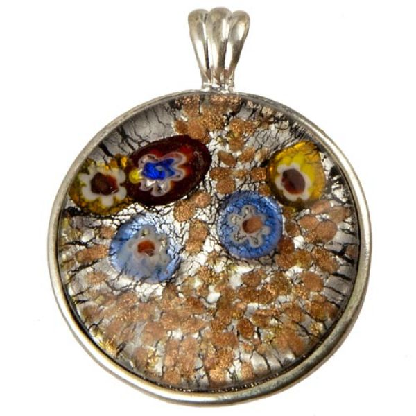 Glass Pendant,<br> circle, colorful /<br>silver edged