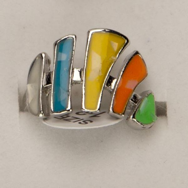 Mother of pearl<br>ring, colored
