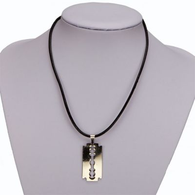 Leather necklace<br> with stainless<br>steel razor blade