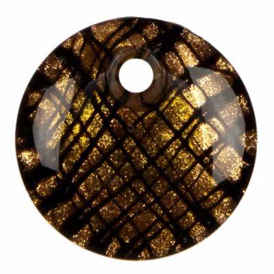 Anhänger Glas,<br> Kreis,<br>Schwarz/Gold, 42x9mm