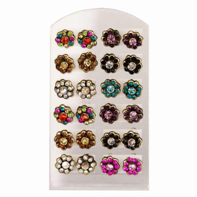 Set of 12 pairs<br> Ohrpins with<br>stone, flower