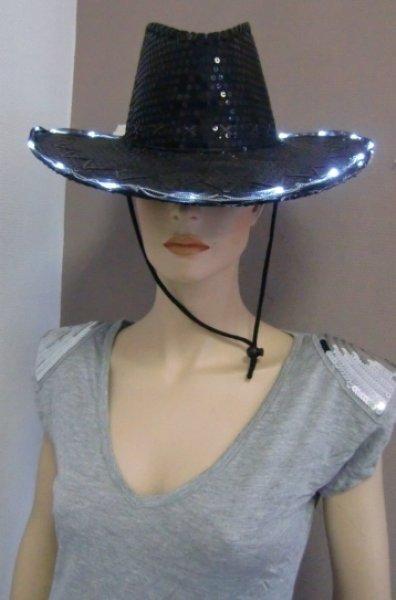 Karneval Cowboyhut Pailletten schwarz blinkend