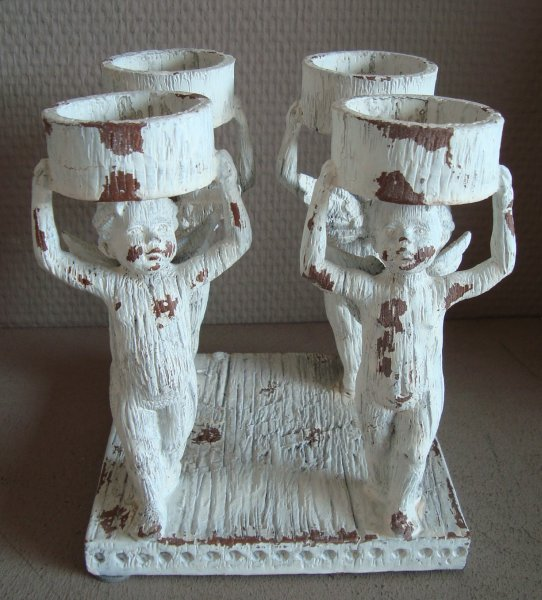 WeihnachtenTeelichthalter Holz weiß 4 Engel Shabby
