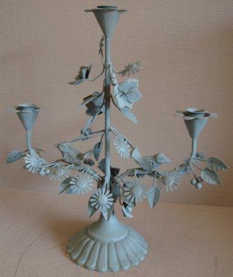 Kerzenleuchter 3-armig zinnfarben Gusseisen