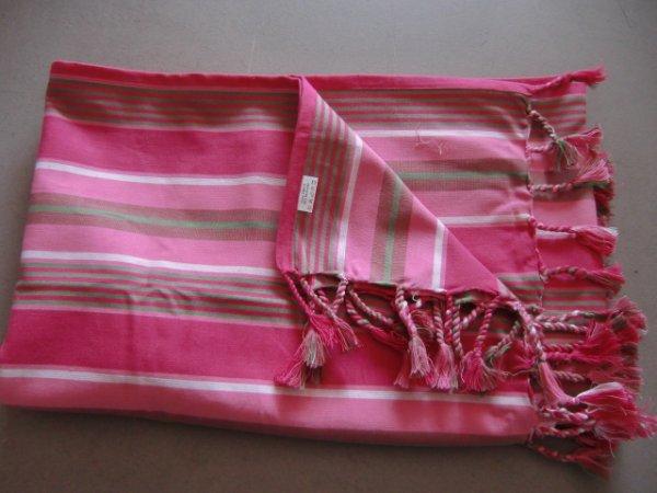 Tischdecke Pink<br> gestreift<br>Baumwolle rechteckig