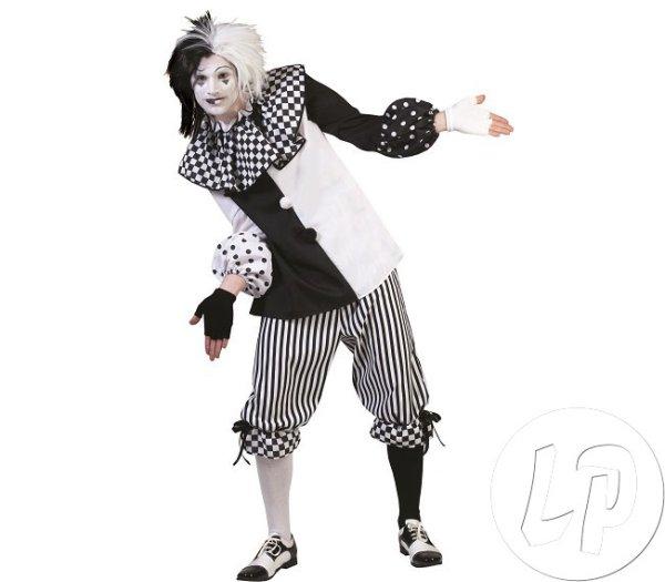 Pierrot kostium<br> czarny i biały<br>Mężczyźni Rozmiar