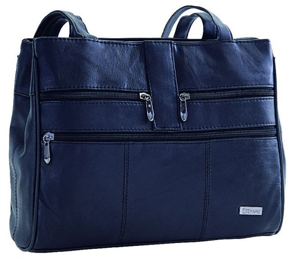 Shoulder bag with<br> 2 zippered<br> compartments by ...