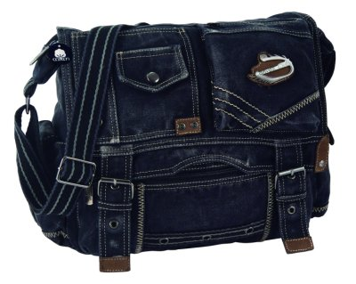 Large shoulder bag<br> by  Canvas Club <br>with leather