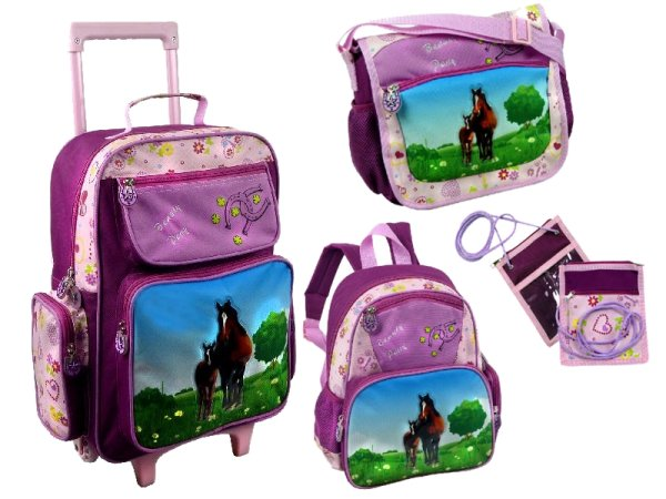 4 tlg. Kinder<br> Reiseset mit<br>Pferdemotiv