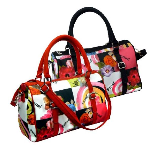 Trendy two handle bag with flower print