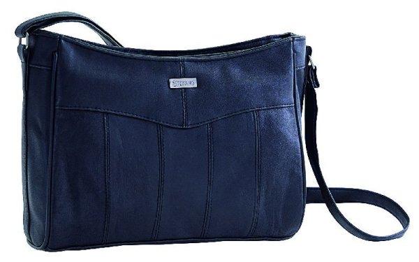 Leder Handtasche<br> mit 2 RV Fächern<br>von STEFANO