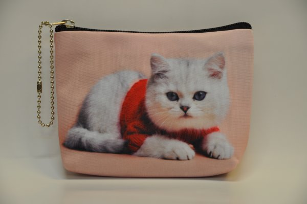 Textile fabric<br> wallet with cat<br>print red truit
