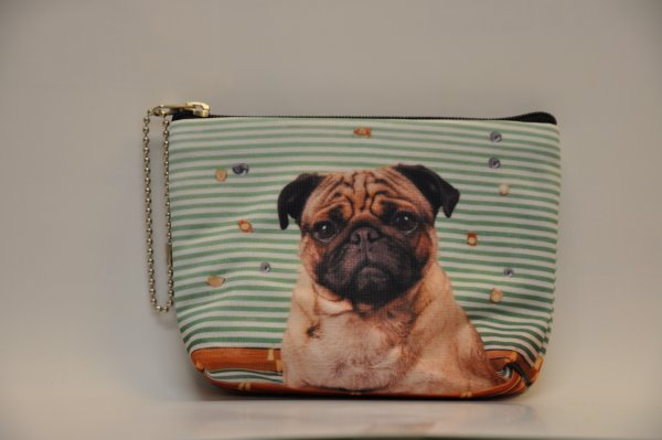 Textile fabric<br> purse with Pug<br>print green