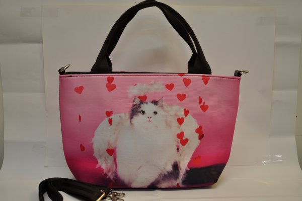 Textile fabric<br> handbag with cat<br>print and heart