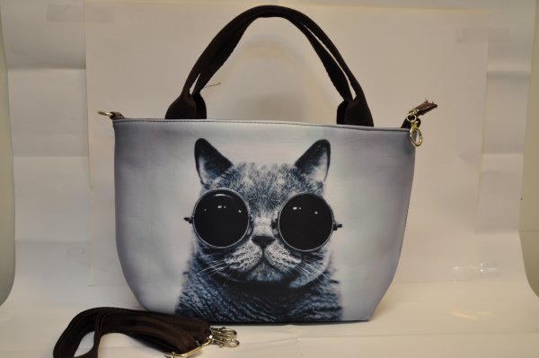 Textile fabric<br> handbag with cat<br>print with solar