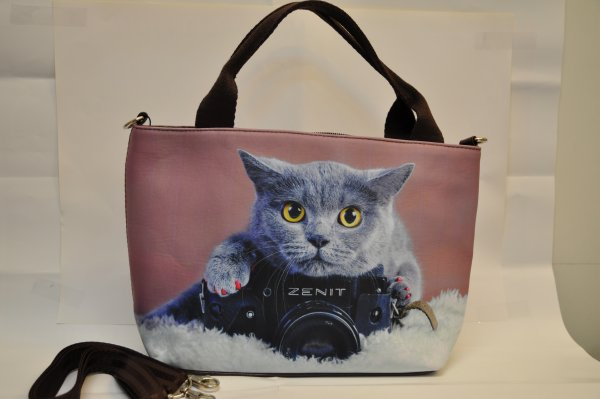 Textile fabric<br> handbag with cat<br>print with fotoc