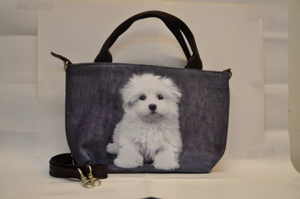 Textiles handbag<br> dogs print white<br>gray