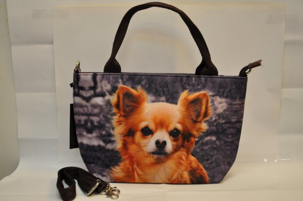 Textile fabric<br> handbag with<br>Chihuaha print