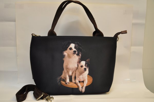 Textile fabric<br> handbag with<br> puppies Chihuaha ...