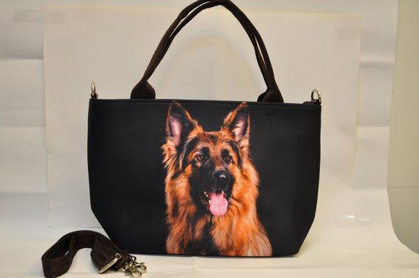 Textile fabric<br> handbag with<br>Shepherd print zwa