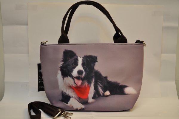 Textile fabric<br> handbag with<br>Keeshonden print r