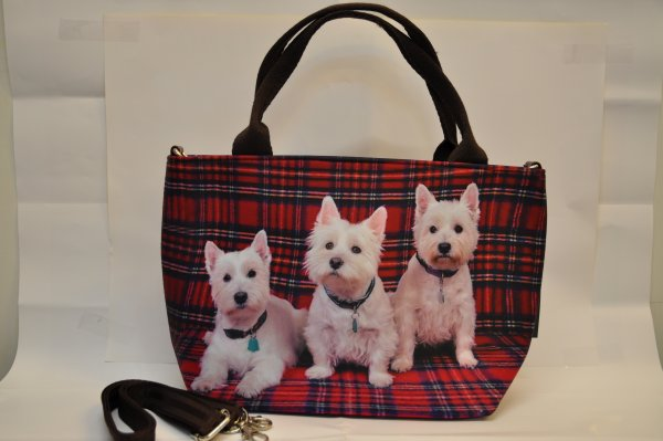 Textile fabric<br> handbag with three<br>puppies print wi