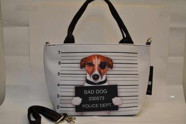 Textiles handbag<br>dogs print Bad Dog 2