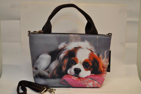 Textiles handbag<br>dogs print on canvas