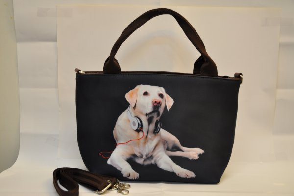 Textile fabric<br> handbag with<br> Labrador print ...