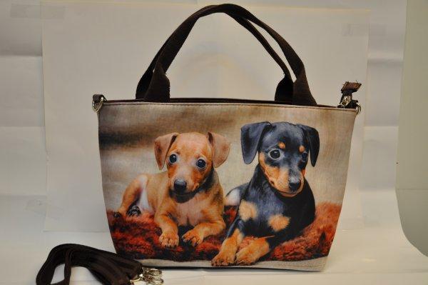 Textiles handbag<br> dogs print on<br>blanket