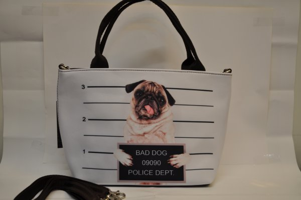 Textiles handbag<br>dogs print Bad Dog 3