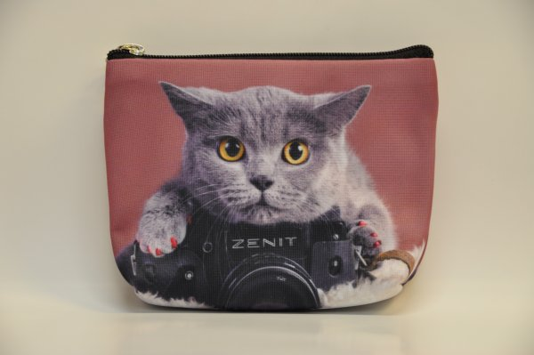 Textile fabric<br> wallet with cat<br>print gray c