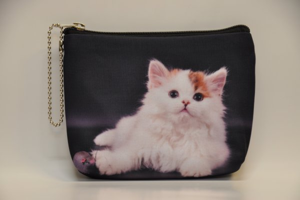 Textile fabric<br> purse with black<br>cat print