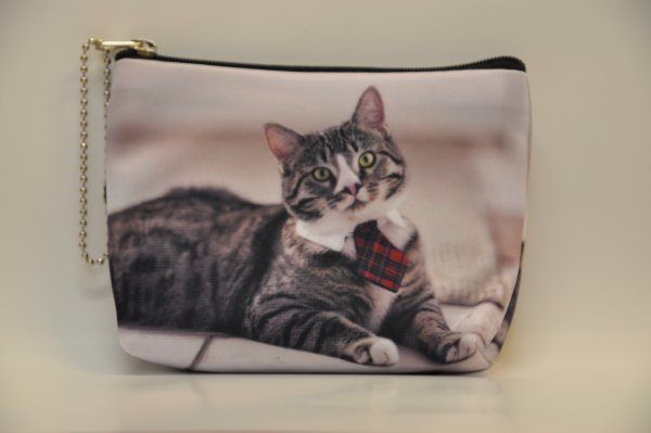 Textile fabric<br> wallet with cat<br>print with gray