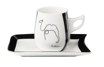 Picasso Tasse +<br> Untersetzer -<br>schwarz/weiß