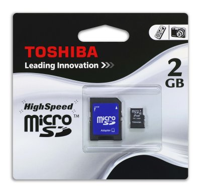 Toshiba 2GB<br> microSD Card with<br>SD Adaptor
