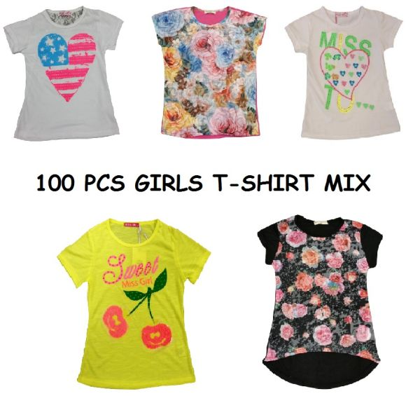 Kinder Maedchen<br> T-SHIRT MIX 100<br>Stueck