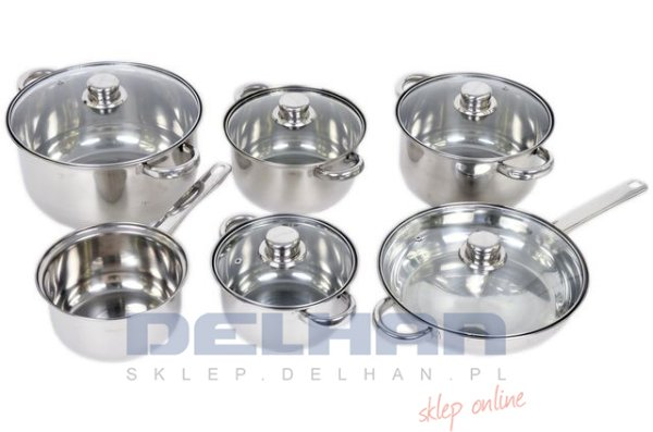 SET POTS, PANS<br> STAINLESS STEEL 12<br>items