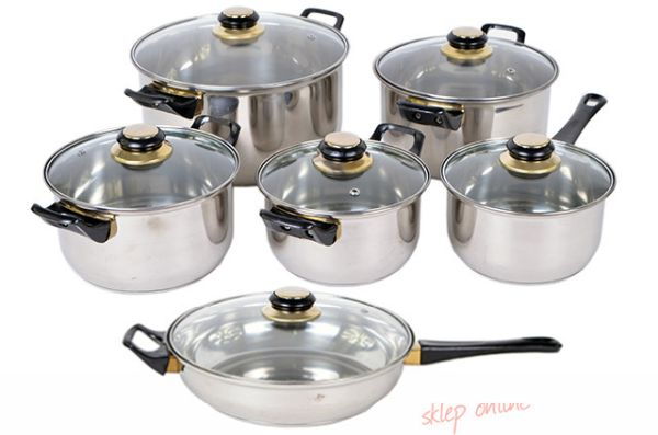 SET POTS, POTS,<br> STAINLESS STEEL,<br>12 elements